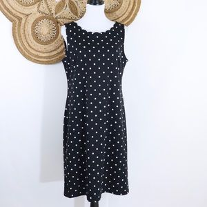 Talbots polka dot scallop collar sleeveless dress